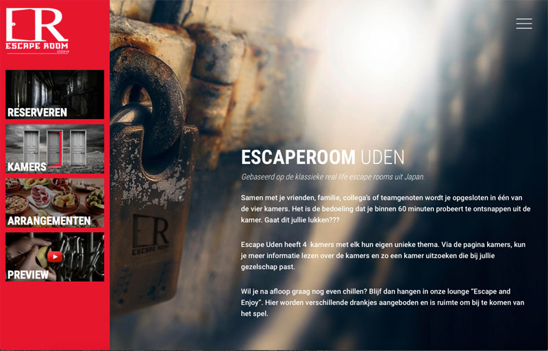 Wordpress website Escaperoom Uden